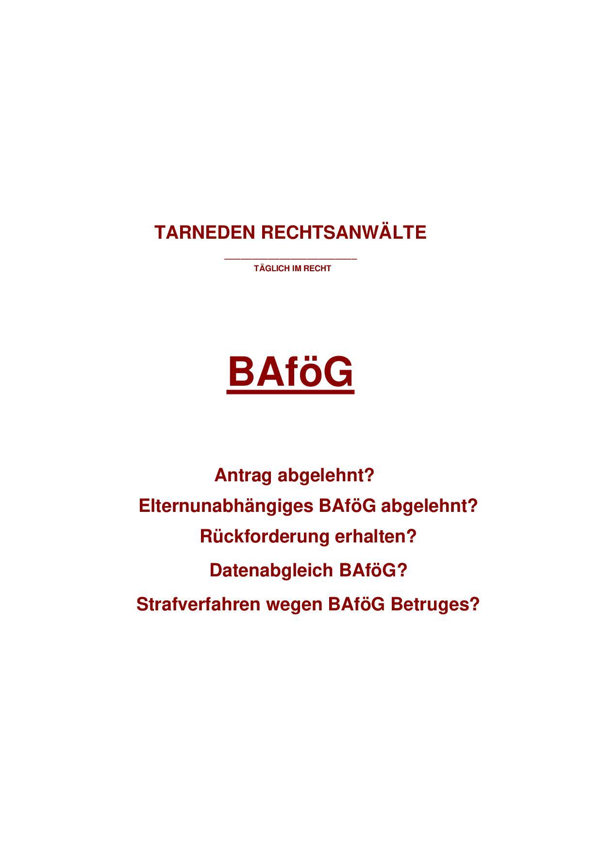 Ratgeber BAFOEG Recht